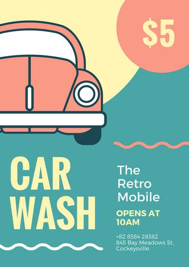 Car Wash Poster Templates Canva Car Wash Poster Template
