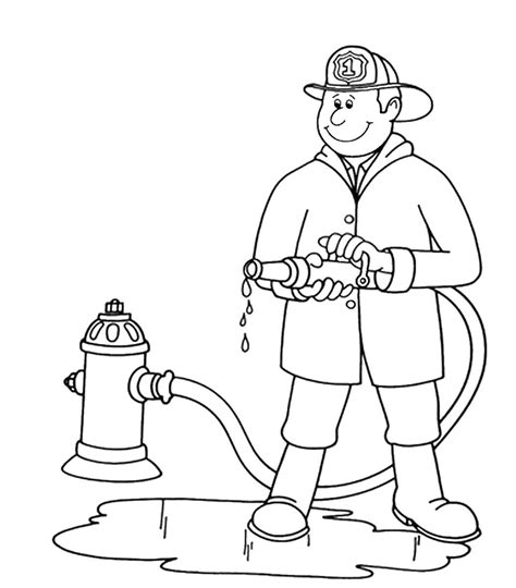 free coloring pages of fireman clipart