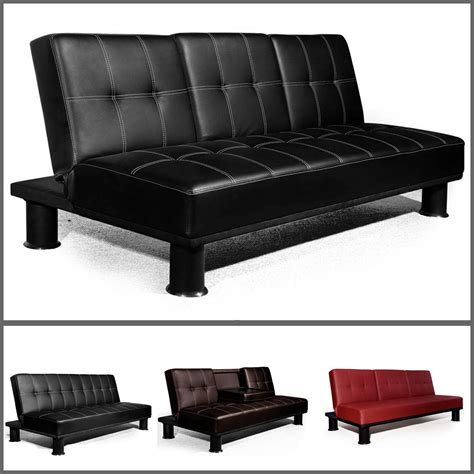 settee bed veelar modern faux leather 3 seater sofa bed sofa beds in