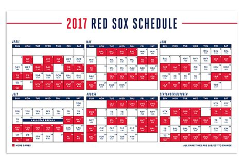 2016 boston sox baseball schedule calendar template 2016