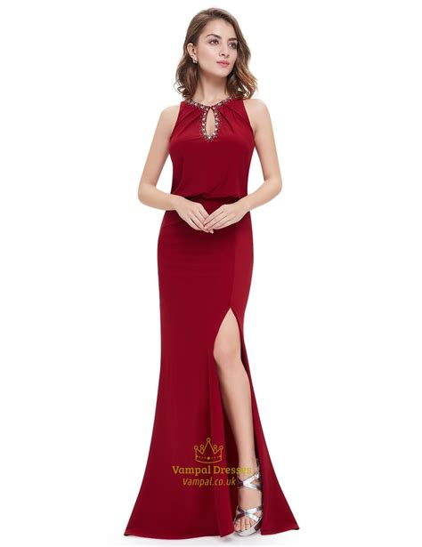 slit mermaid prom dresses with beaded top val dresses