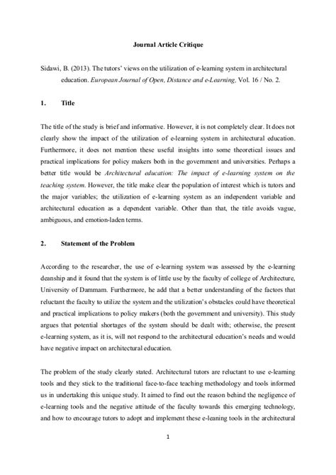 critique sle essay journal article critique