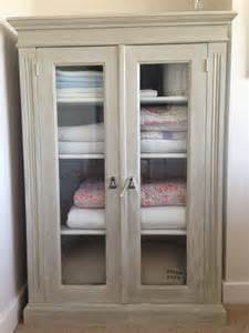 chic vintage french farmhouse linen storage display cupboard