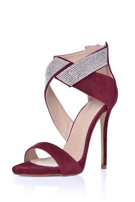 Sandal Wine M181 4 linsey glitter detail sandals in wine suede iclothing