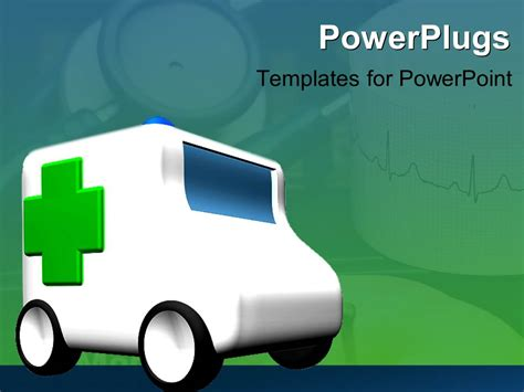 powerpoint template an ambulance travelling with greenish