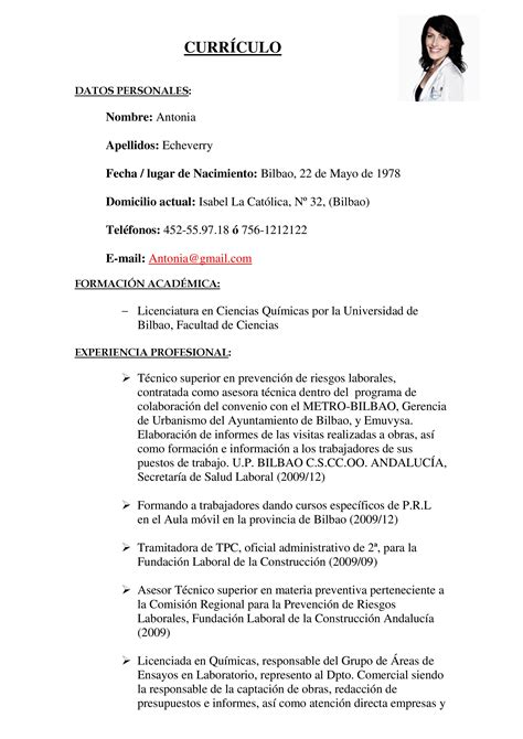 Modelo De Curriculum Para Trabajo Peru Modelo De Curr 237 Culum Vitae Para Ciencias Exactas Curr 237 Culum Entrevista Trabajo