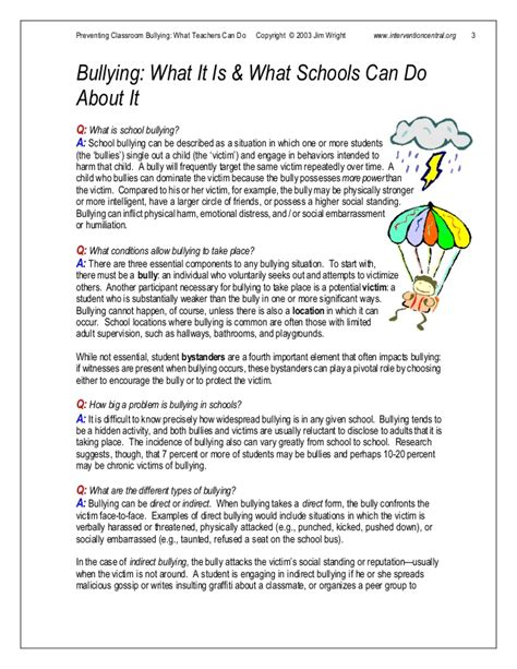 Bullying Worksheets Middle School