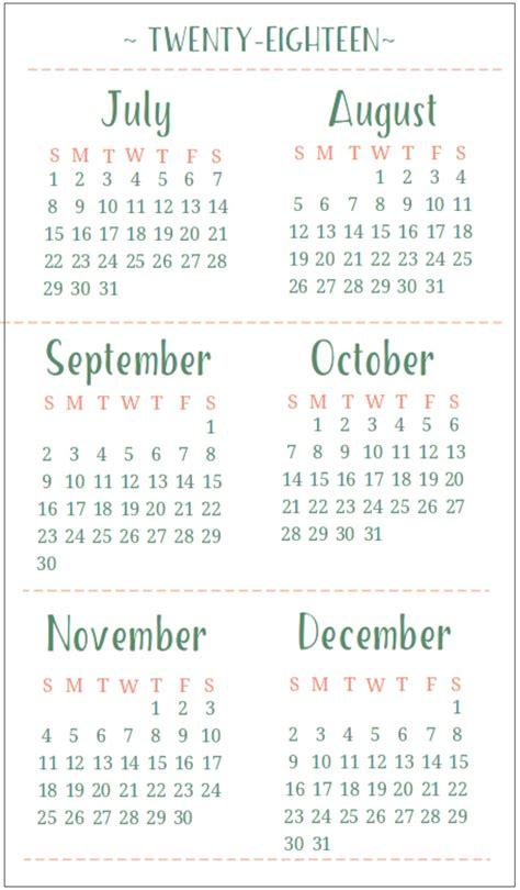printable calendar half page 2018 6 month one page calendar 2018 calendar 2018