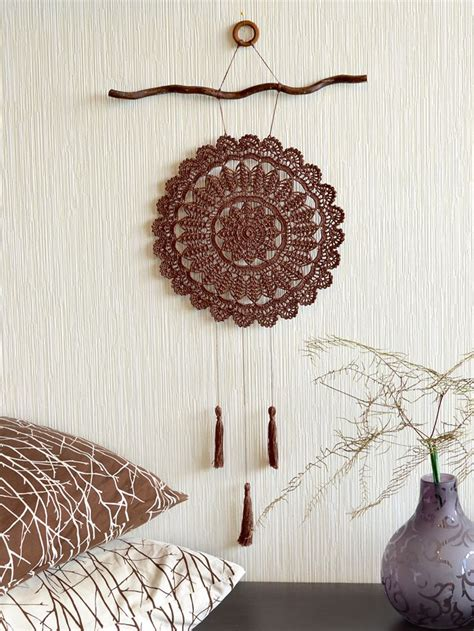crochet for home decor large crochet dream catcher crochet wall decor brown
