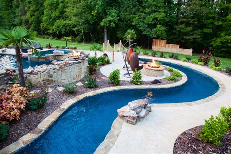 Backyard Lazy River Pool Design With Stone Liner And Backyard Pool With Lazy River