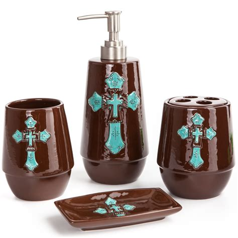 Aqua And Brown Bathroom Accessories Turquoise Western Bathroom Decor Brightpulse Us