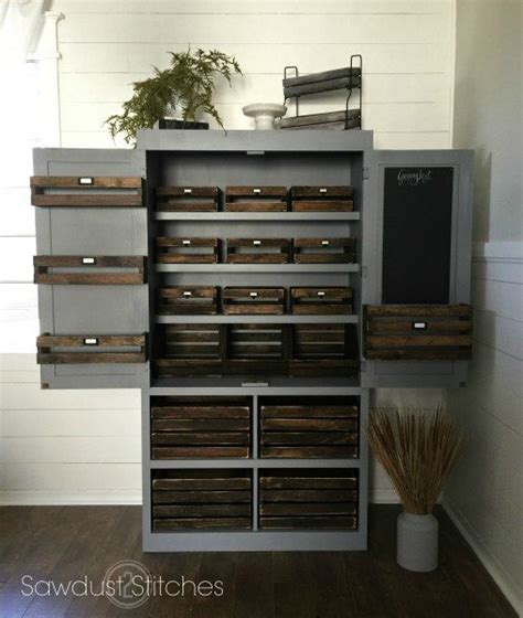 How To Build A Freestanding Pantry by White Free Standing Pantry With Crate Storage Featuring Sawdust 2 Stitches Diy Projects