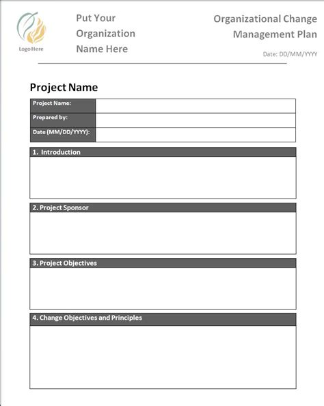 change management plan template free printable word