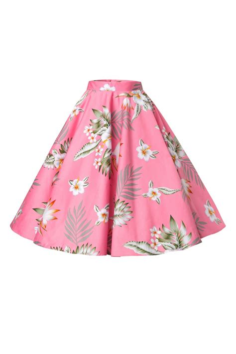 50s swing skirt 50s candy swing skirt in pink hibiscus