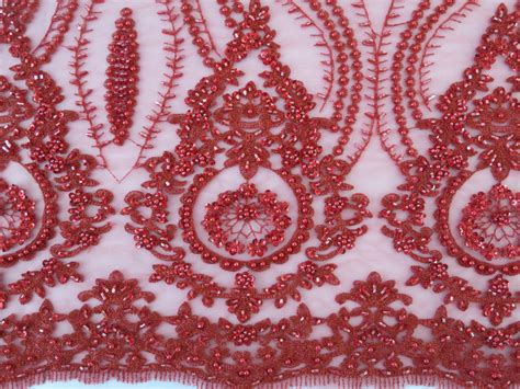embroidered fabrics red embroidered beaded sequin mesh fabric by fabric universe