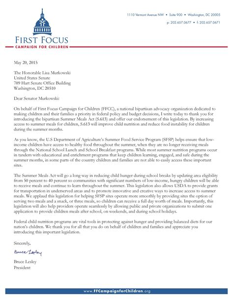 Endorsement Letter For Summer Support For The Summer Meals Act Of 2015