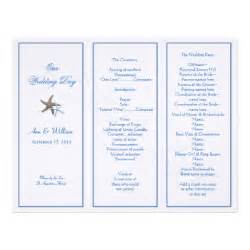Free Tri Fold Wedding Program Templates Starfish Couple Tri Fold Wedding Program Template Letterhead Zazzle