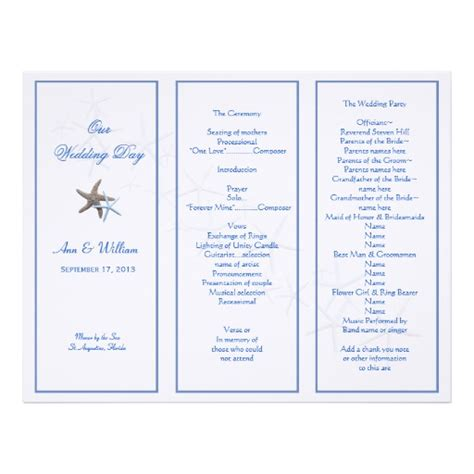 starfish couple tri fold wedding program template