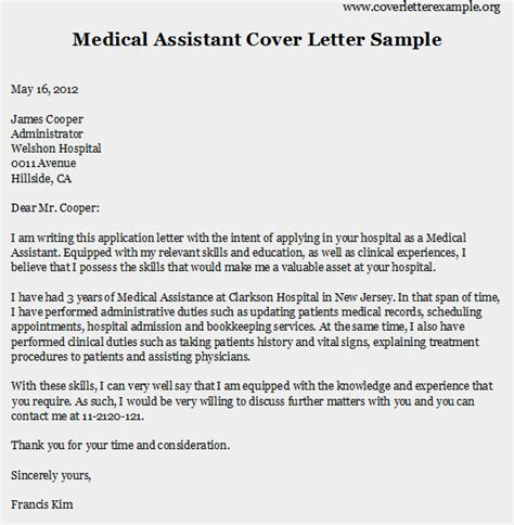 Medical Assistant Resume Cover Letter Medical Assistant Cover Letter Samples Experience Resumes