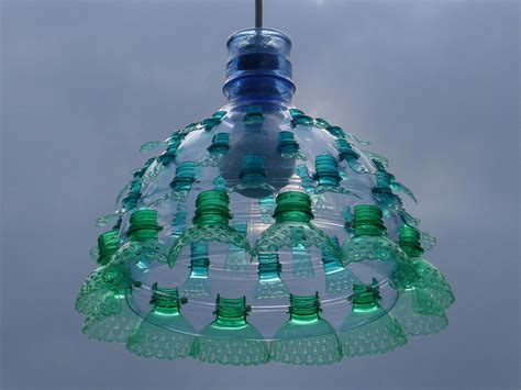 with plastic chandeliers constructed from recycled plastic pet bottles