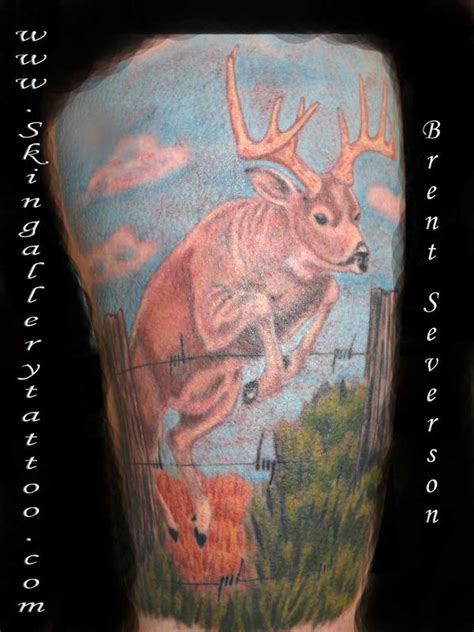 fence tattoo deer jumping fence by brent severson tattoos