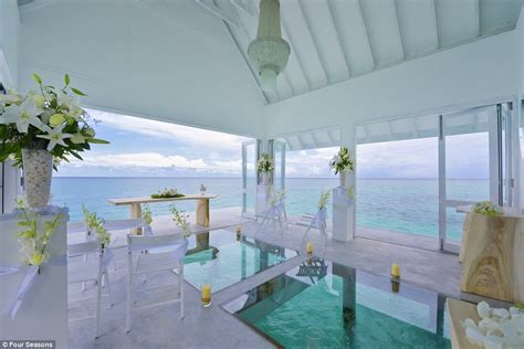 maldives wedding glass aisle four seasons opens overwater wedding pavilion at maldives