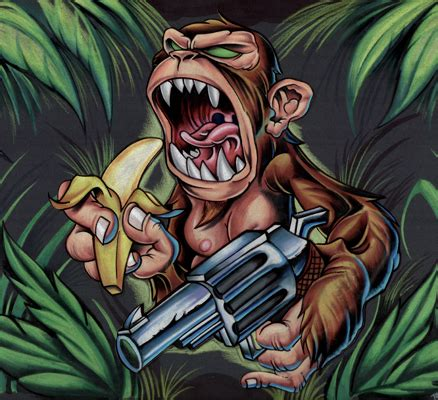stinky monkey tattoo monkey with gun by tony ciavarro tattoonow