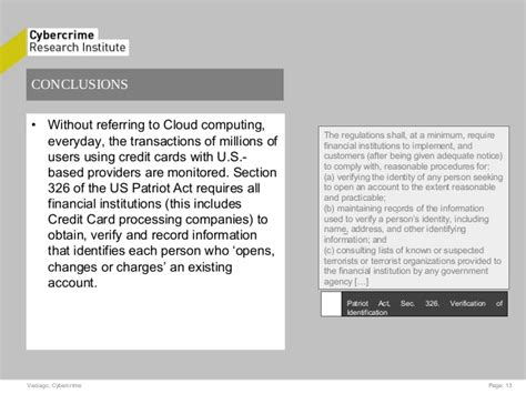 section 326 patriot act legal aspect of the cloud by giuseppe vaciago