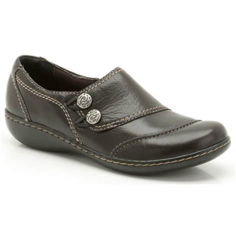 clarks embrace charm black leather casual shoe
