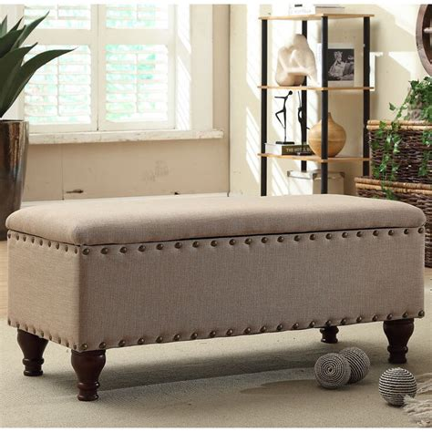 Living Room Benches - nailhead upholstered storage bench living room furniture
