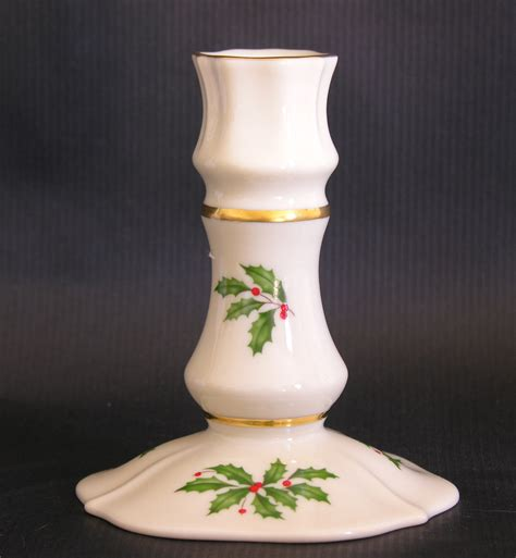 lenox holiday pattern gold trim candlestick taper candle