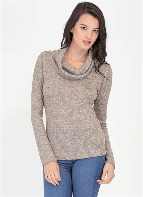 top knitting websites cozy feeling cowl neck knit top taupe gojane