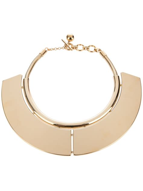 metal plates for jewelry lyst lanvin brass plate necklace in metallic