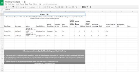 card list template docs 7 free wedding guest list templates and managers