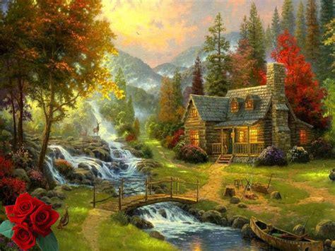home interiors kinkade prints kinkade landscape painting soft mountain paradise hd print fade resistant