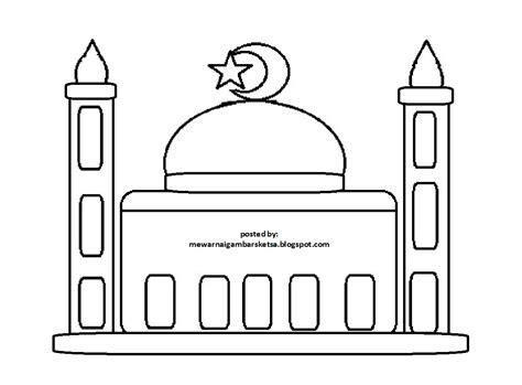 gambar mewarnai masjid clipart best