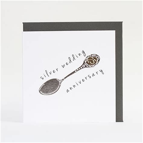 silver wedding anniversary card images silver spoon 25th wedding anniversary card karenza paperie