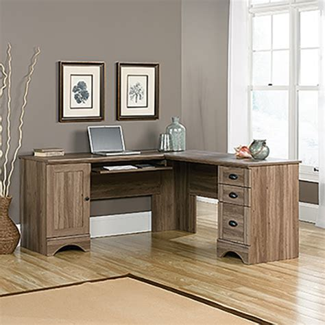sauder harbor view corner computer desk salt oak boscov s
