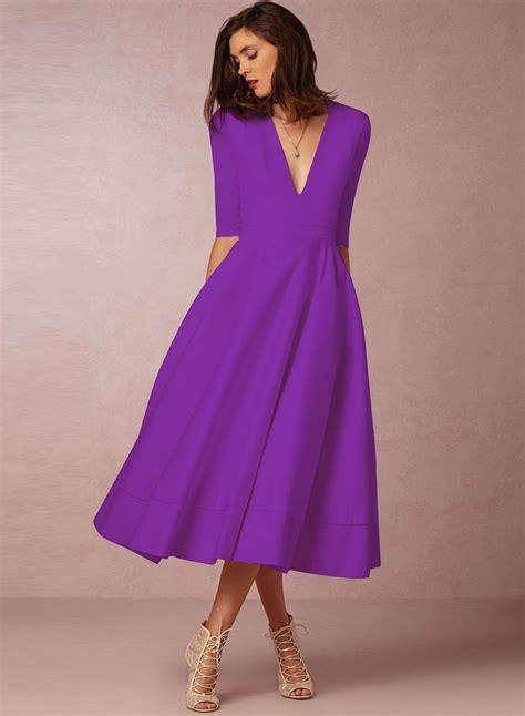 V Neck Solid Color Dress fashion v neck half sleeve solid color dress novashe