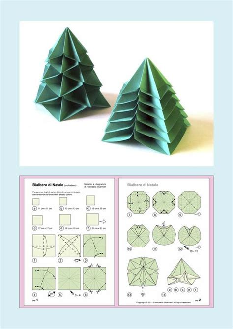 origami diagrams bialbero di natale double christmas