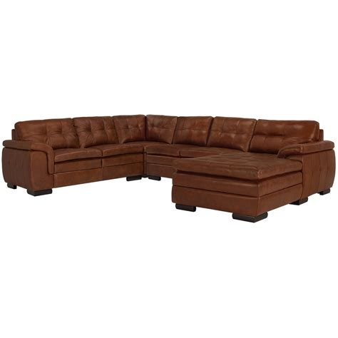 Small Leather Sectional With Chaise City Furniture Trevor Medium Brown Leather Small Right Chaise Sectional