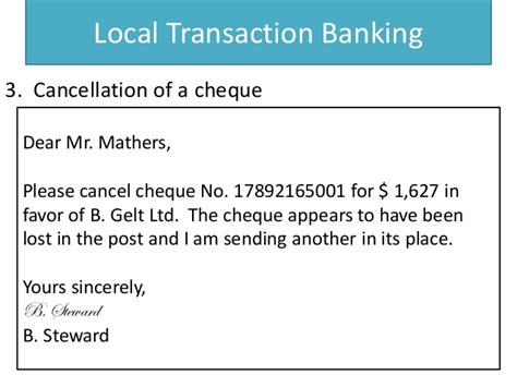 Cancellation Cheque Letter Banking