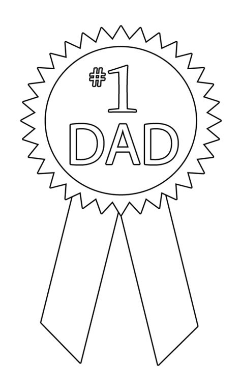 1 dad ribbon coloring page happy father s day