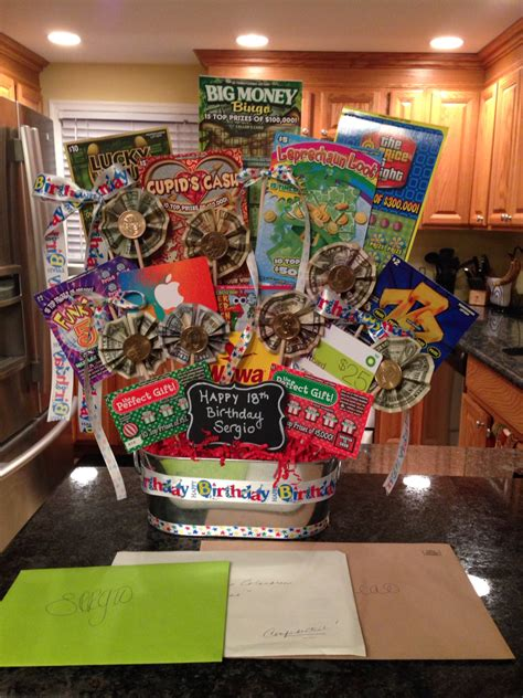 birthday themed raffle basket money gift basket lottery tickets money and gift cards