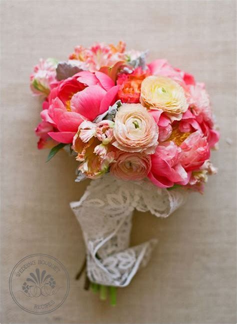 peonies bouquet big pink peony and ranunculus wedding bouquet from the