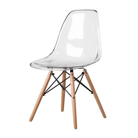 clear charles eames chair mid century side chair with la fonda base by charles