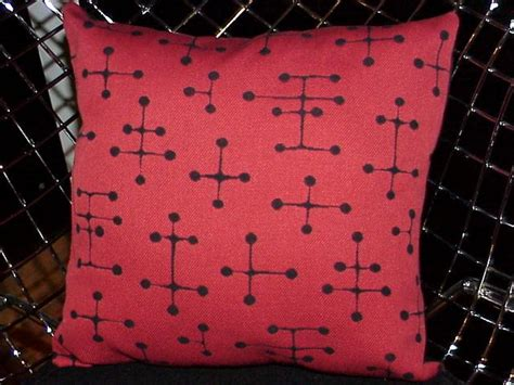 eames pattern fabric pillow designer eames dot atomic 50s retro fabric red ebay