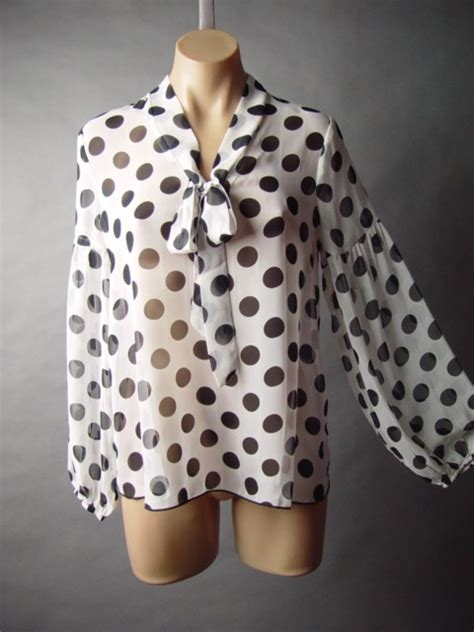 Polka Dot Blouse With Tie by Black White Polka Dot 40s 50s Bow Tie Neck Top 55 Df