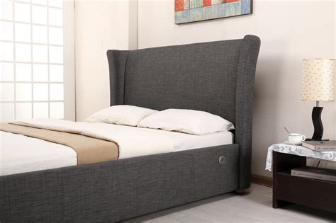 grey fabric bed lightbox