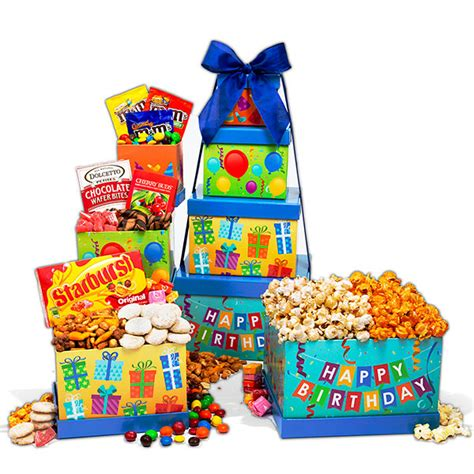 Birthday Gifts For by Happy Birthday Gift Tower By Gourmetgiftbaskets